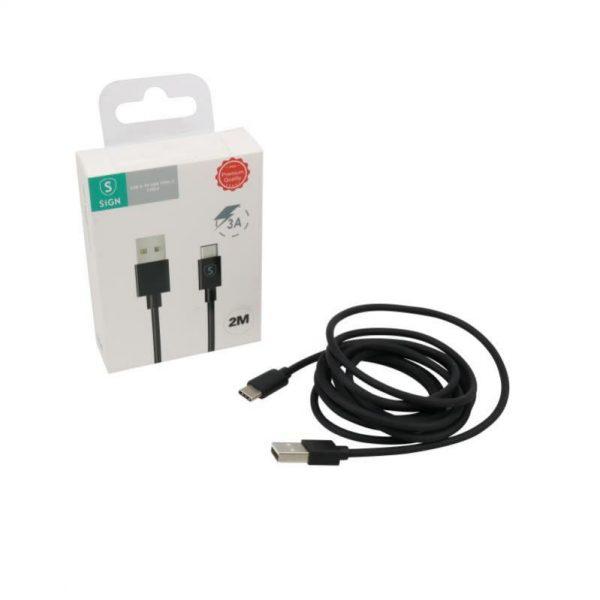 SiGN USB-C kabel 2 meter (Svart)