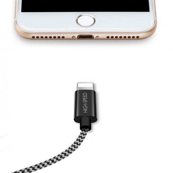 SiGN Skin Lightning-kabel 2.1A 1,5 m - Svart/Hvit