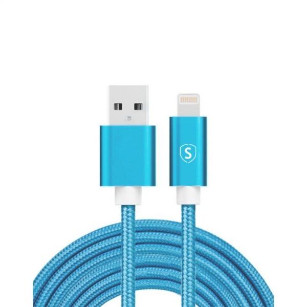 SiGN USB til Lightning Kabel, 2m, Nylon - Blå