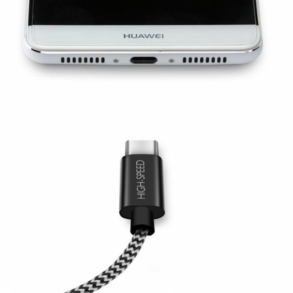 SiGN Skin USB-C-kabel 2.1A 1,5 m - Svart/Hvit