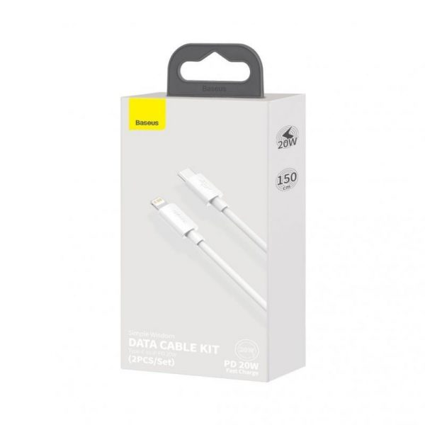 Baseus Simple Wisdom USB-C til Lightning Kabel PD 20W, 1,5m - Hvit