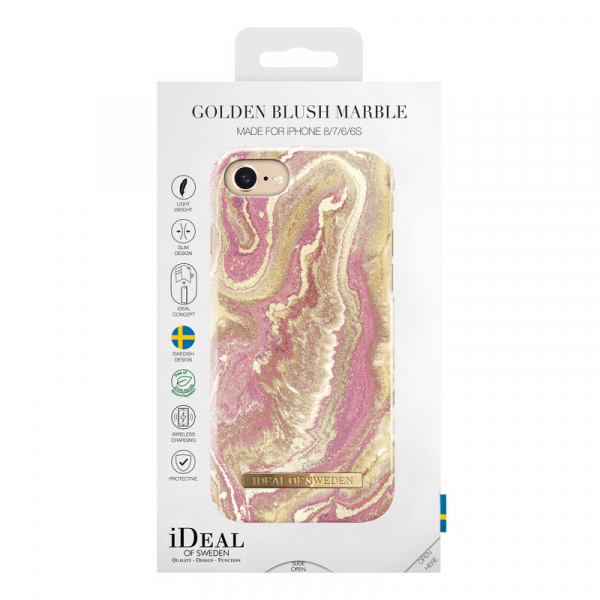 Ios golden blush marble deksel 8/7/6/6s